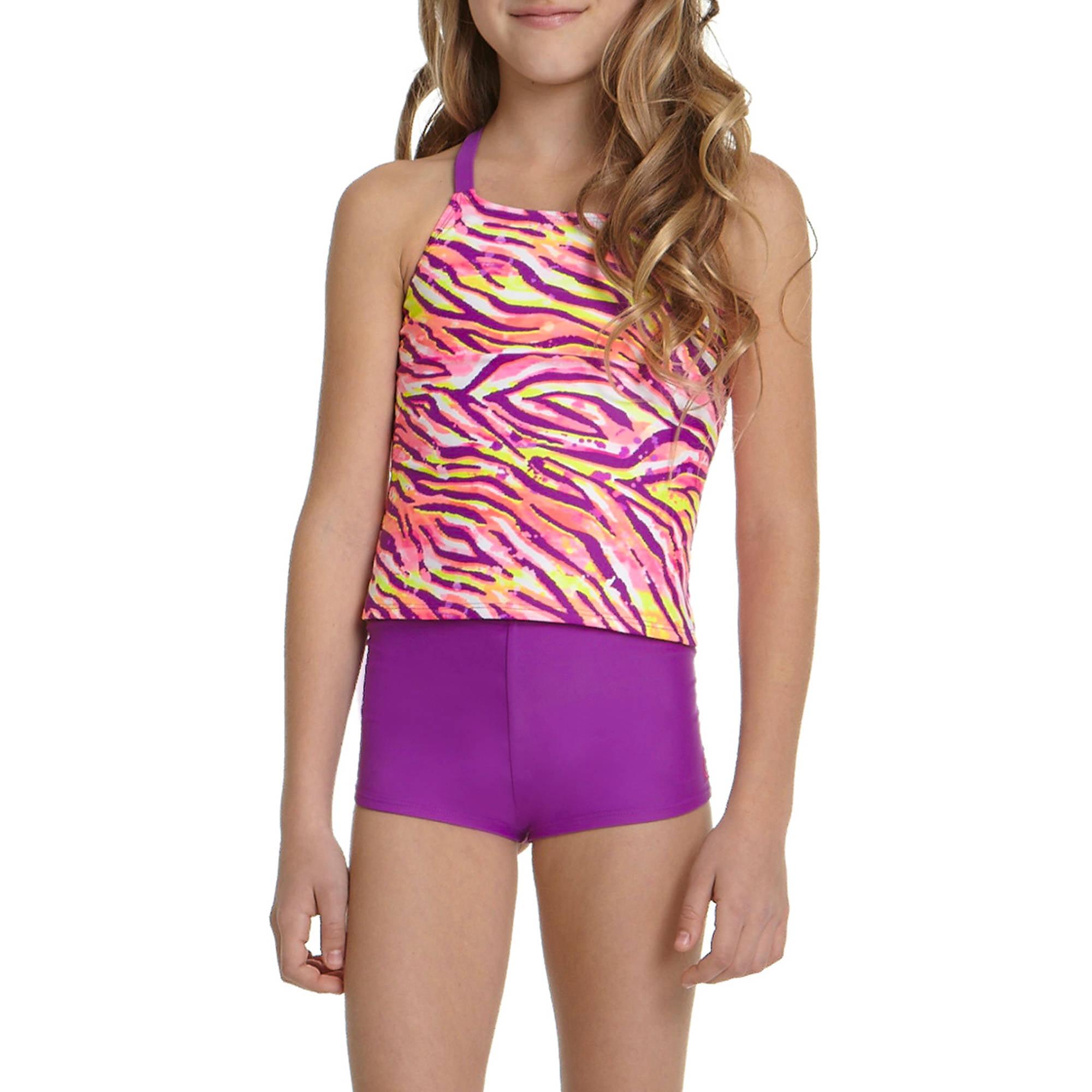 OP Girls' Zebra Splat Tankini Swimsuit