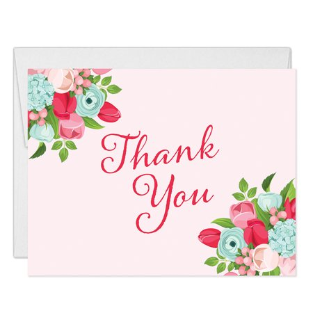 Pink Rose Petals Note Card (Thank You Cards Pink Red Rose Notecards with Envelopes ( Pack of 25 ) Any Occasion Anniversary Birthday Bridal Baby Shower Baptism Christening Thanks Gracias Notes Excellent Value Thanking You VT0008B)