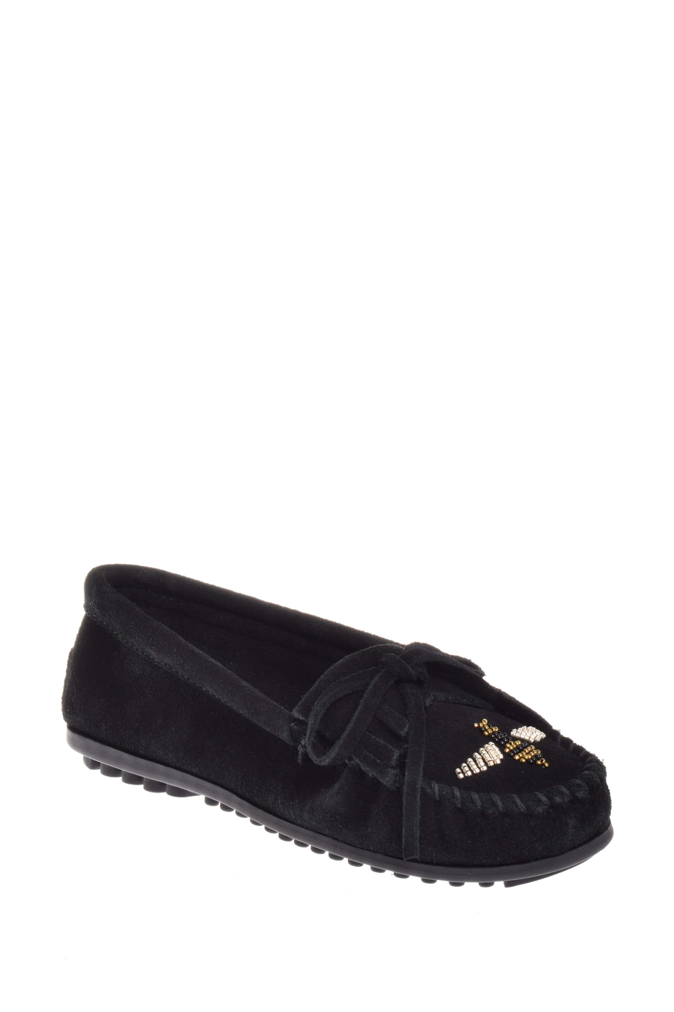 Click here to buy Minnetonka 419H Minnetonka X Moko Moc Loafer Black.
