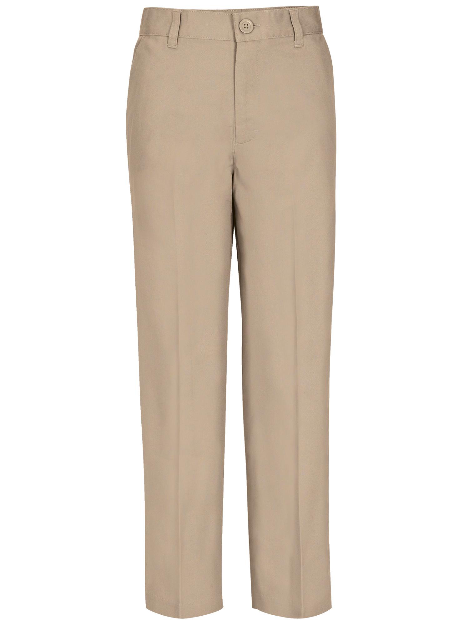 Boys Husky Size Flat Front Pants School Uniform Approved