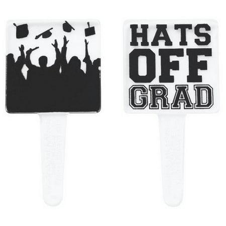 Hats off Grad and Silhouette Cupcake Picks - 24 pcs Hat Cupcake Picks