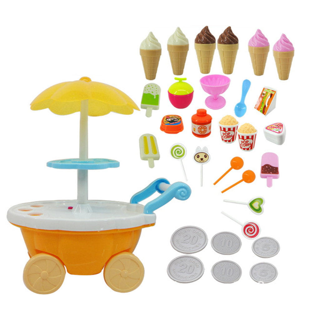Goolsky Baby Girls Music Candy Cart Ice Cream Shop Supermarket Trolley Kids Toys with Light