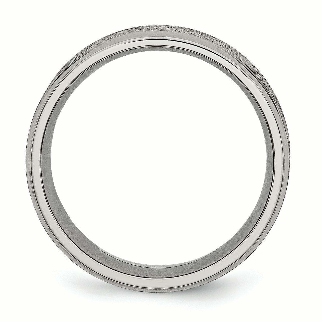Titanium Ridged Edge 8mm Brushed Wedding Ring Band Size 11.00 Classic Flat W/edge Fashion Jewelry Gifts For Women For Her - image 3 of 6