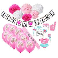 Baby Shower Decorations for Girls (22-Piece Set) Pink Gender Reveal Celebration & Party Décor | Balloons, Paper Flowers, Bunting, Photo Booth Props