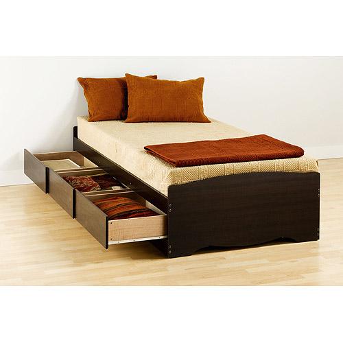 Prepac Edenvale Twin Platform Storage Bed, Espresso