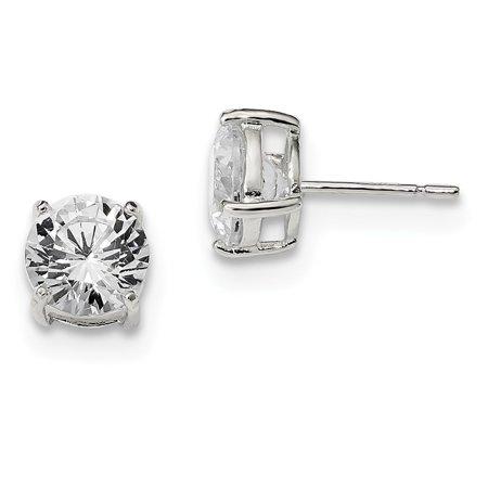 Sterling Silver Radiant Cut Post Earrings Basket Setting 8mm Cubic Zirconia Stud