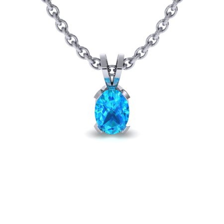 3/4 Carat Oval Shape Aquamarine Necklace In Sterling Silver 18 Inches - March Birthstone Necklace
