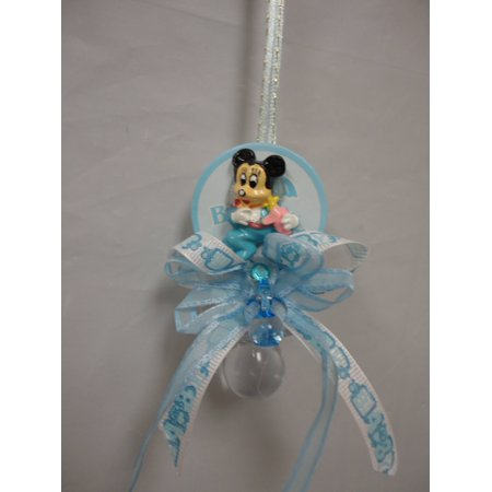 CHARMED Mickey Mouse Pacifier Necklaces Baby Shower Games Favors Prizes 12PC; Blue - Baby Shower Mickey Mouse