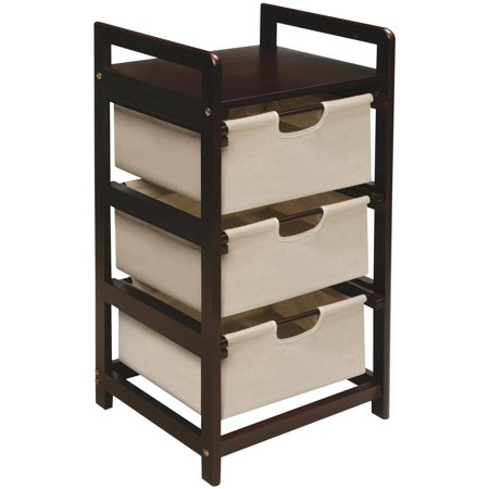 badger basket finish 3 drawer hamper storage unit espresso with canvas bins. Black Bedroom Furniture Sets. Home Design Ideas