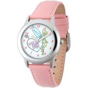 Tinker Bell Girls' Stainless Steel Case Watch, Pink Leather Strap