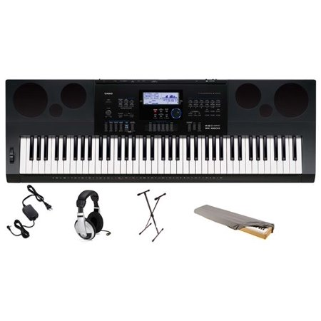 Casio WK6600 76-Key Premium Keyboard Pack with Stand, Power Supply, On-Stage Dust Cover and Samson HP30 Closed-Cup Headphones (Cover For Piano Casio)