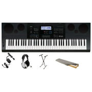 Casio WK6600 76-Key Premium Keyboard Pack with Stand, Power Supply, On-Stage Dust Cover and Samson HP30 Closed-Cup Headphones