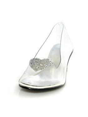 Ellie Shoes E-201-Ariel 2 Heel Clear with silver glitter heart slipper Children Clear/Silver / S