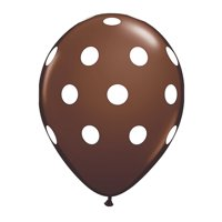 Brown with White Polka Dot 11 inch Latex Balloons (6 ct)