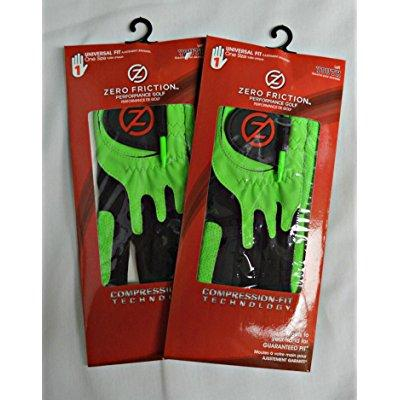2 zero friction youth golf gloves, left hand, one size, lime green