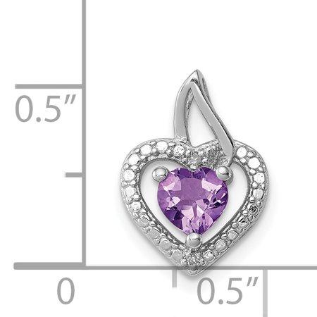 925 Sterling Silver Rhodium Plated Pink Quartz Diamond Heart Shaped Pendant - image 1 de 2
