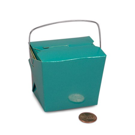 "Turquoise Green Paper Chinese Take Out Boxes 4"" X 3 1/2"" 