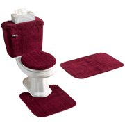 REFLECTIONS 5 PIECE BATH RUG, CONTOUR, LID, TANK LID & TANK COVER SET, BURGUNDY