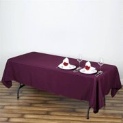 BalsaCircle 10 pcs 60x102-Inch Eggplant Purple Rectangle Polyester Tablecloths Table Cover Linens for Wedding Events Kitchen Dining