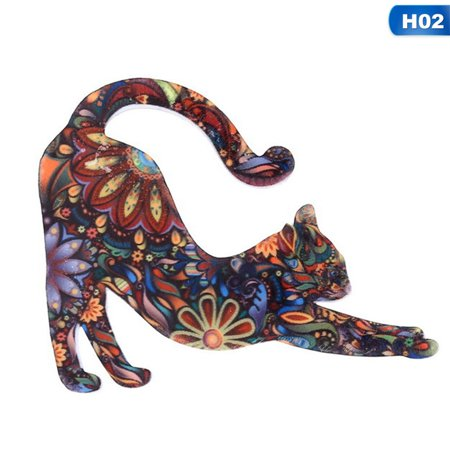 Fancyleo 2Pcs Acrylic Animal Cat Brooches andamp; Pins Collar Pins Print Bohemia Badges Lapel Pin Fashion Jewelry For Women Girls(4 Styles) Craft Badges Pins