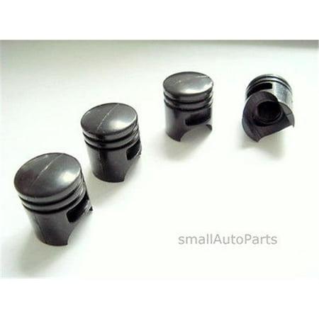 SmallAutoParts Black Piston Valve Caps - Set Of 4 - image 1 of 1