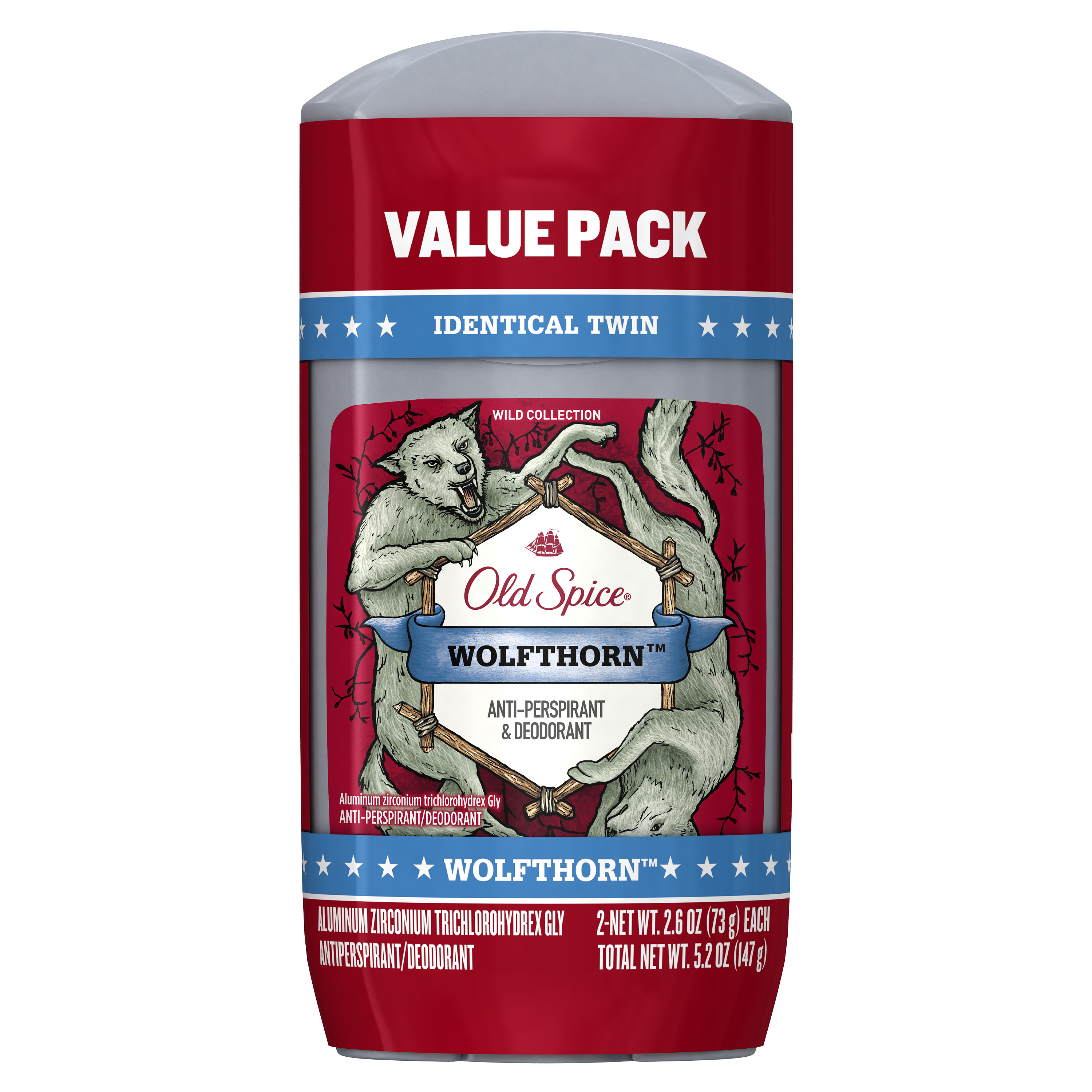 Old Spice Wild Collection Wolfthorn Antiperspirant and Deodorant 2.6 oz Twin