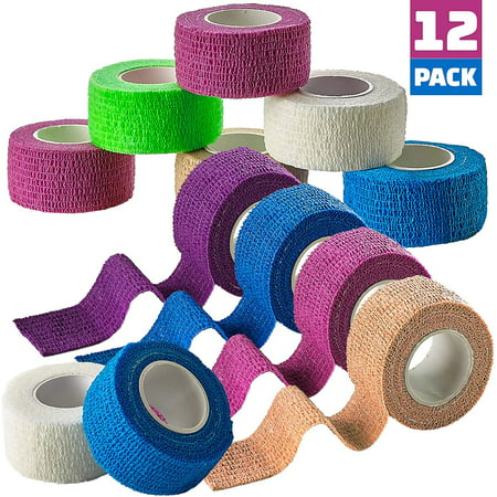 Self Adherent Cohesive Wrap Bandages - (Pack of 12 Rolls) 1 Inch X 5 Yards with Strong Elastic and Colorful First Aid Tape for Sprain Swelling and Soreness on Wrist and Ankle (Rainbow Color) Self Adherent Elastic Cohesive Bandage