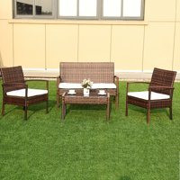 4 pc Garden Lawn Rattan Cushioned Seat Wicker Sofa Furniture Set