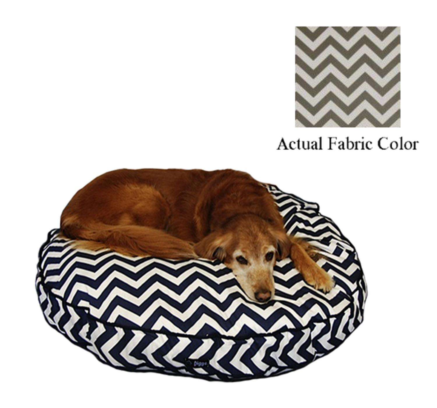 Gray and White Chevron Printed Deluxe Round Pet Dog Bed - Large