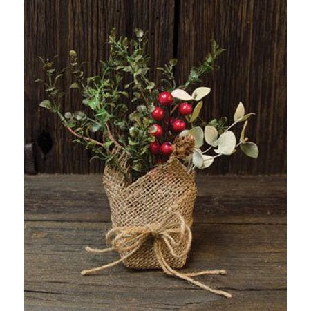 Pinecone Red Berry - Rustic Potted Country Eucalyptus Greenery Pinecones Red Berries Cement Pot Burlap Primitive Floral Décor