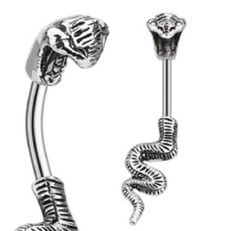 Belly Button Ring 316L Surgical Steel Poisonous Cobra Navel Ring ()