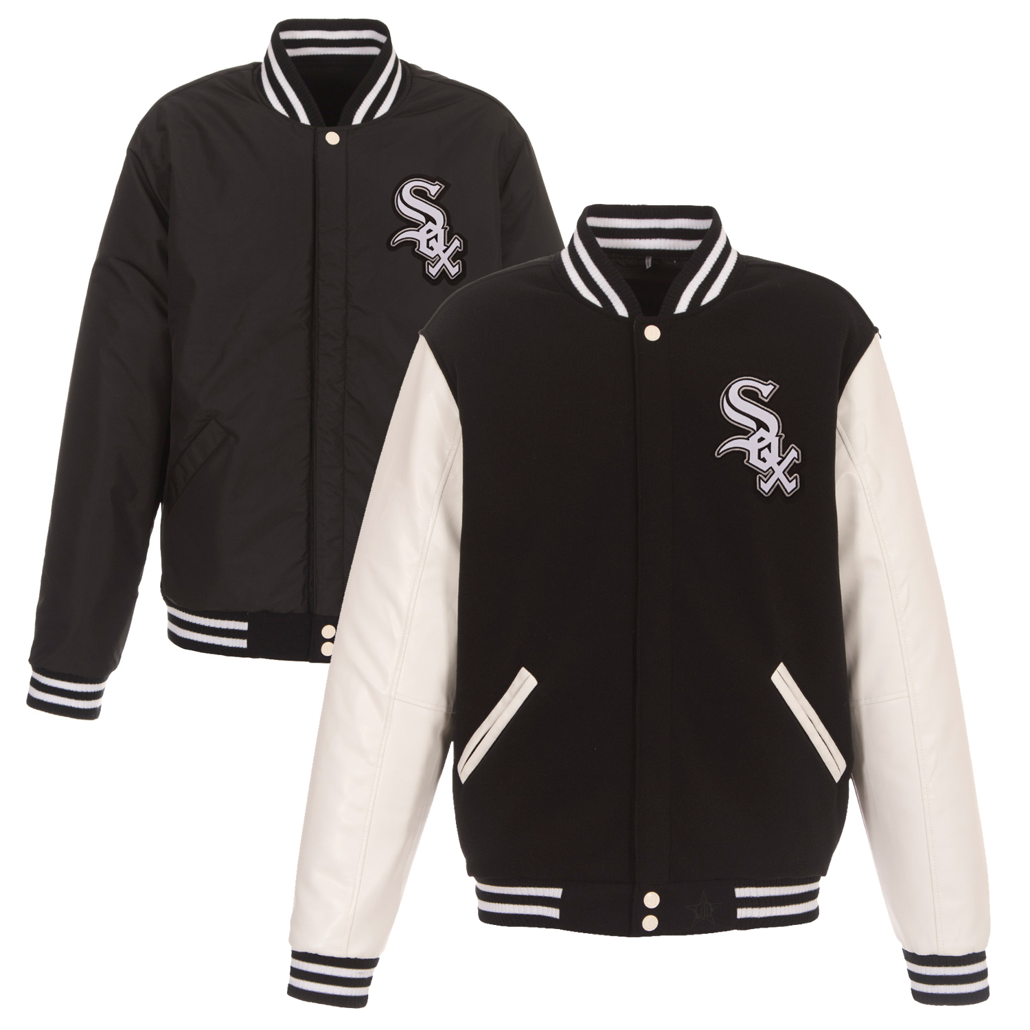 Chicago White Sox JH Design Alternate Reversible Fleece Jacket with Faux Leather Sleeves - Black
