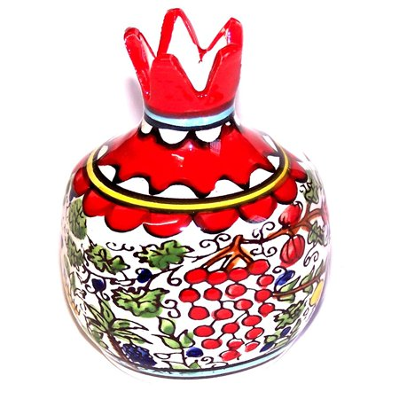 Ceramic hand-painted Pomegranate from Jerusalem - Seven Spieces - Fruits and Flowers model - Asfour Outlet Trademark (4 - Easter Fruit