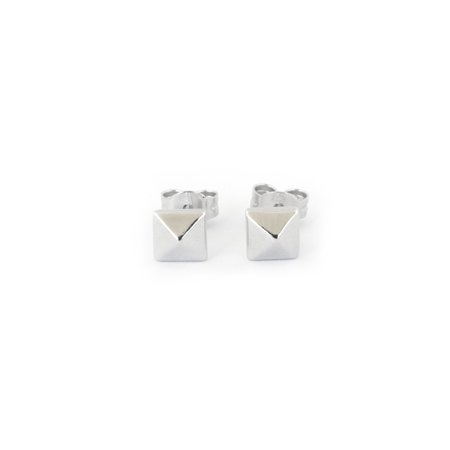 39fb58fcd Beauniq - Solid Sterling Silver Rhodium Plated Square Small Pyramid ...