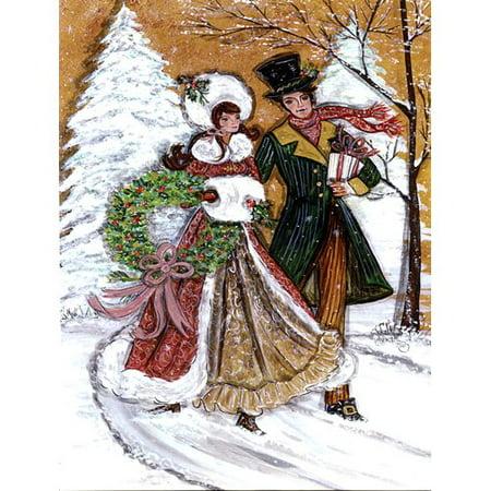 - Caroline's Treasures Couple Skating Winter Scene 2-Sided Garden Flag