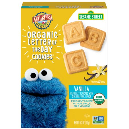 Earths Best Organic Sesame Street Toddler Letter Of The Day Cookies Very Vanilla 53 Oz Box