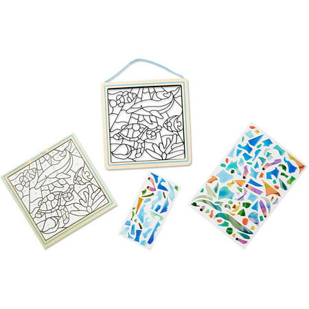 Melissa & Doug Peel and Press Stained Glass Sticker Set: Undersea Fantasy - 100+ Stickers, - Stained Glass Cross Craft