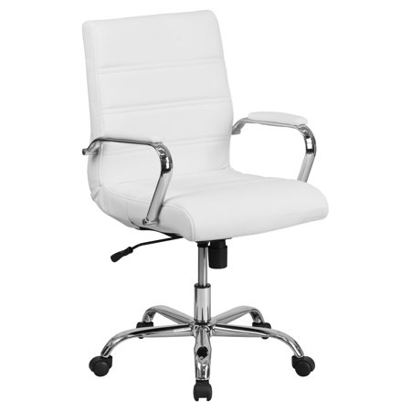 Flash Furniture Mid-Back Black Leather Executive Swivel Office Chair with Chrome Arms