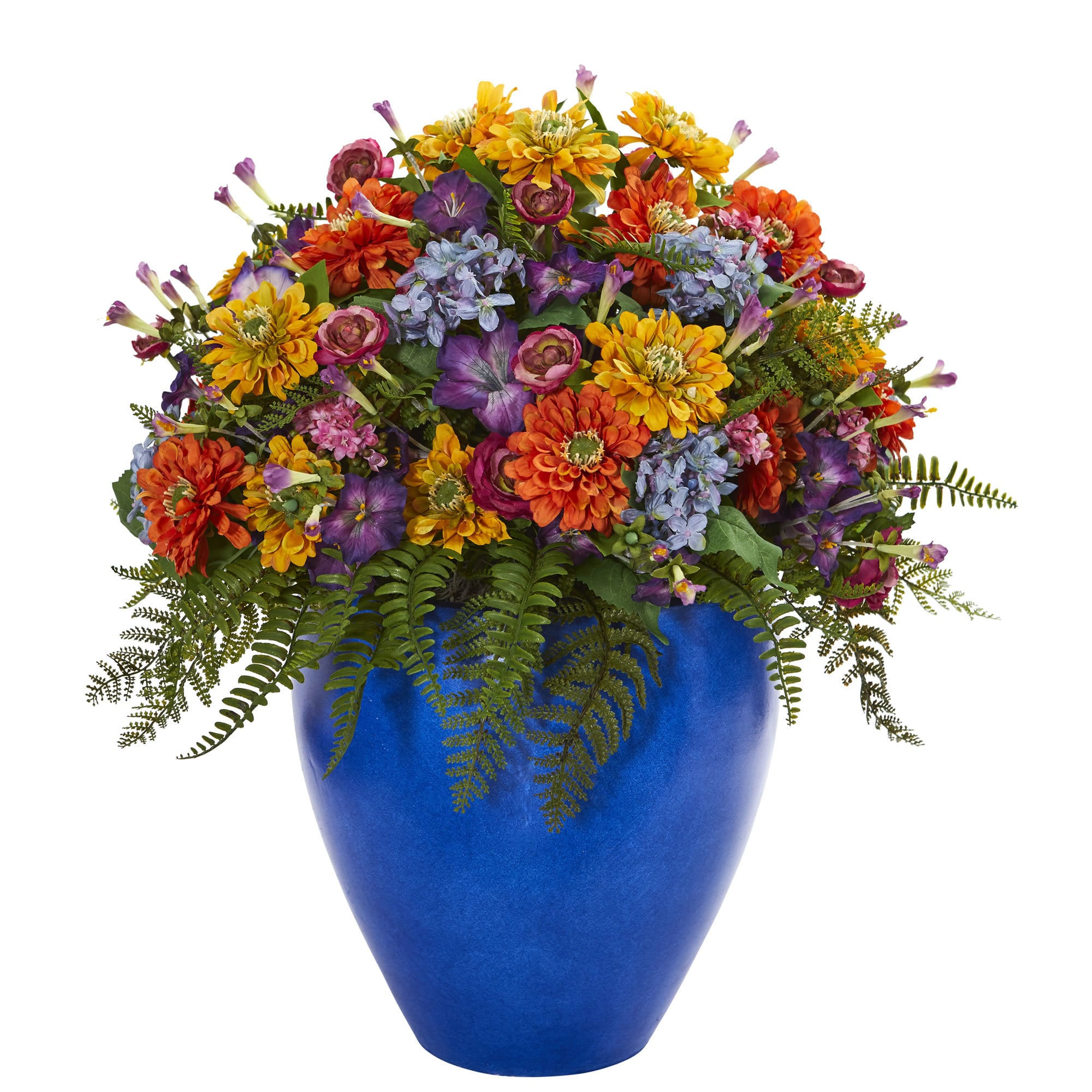 Nearly Natural Giant Mixed Floral Artificial Arrangement in Blue Vase