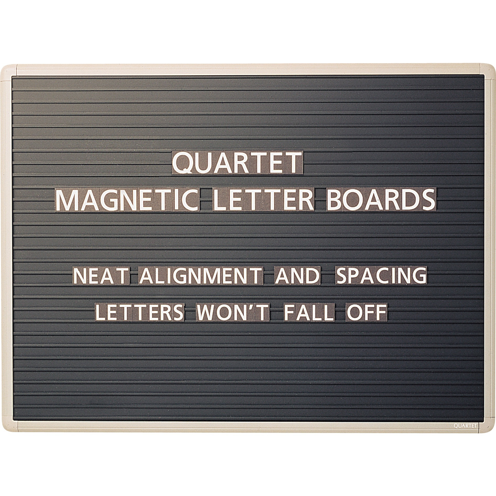 "Quartet Magnetic Letter Board Sign, 24"" x 18"", Horizontal Ridges, Easy Mounting, 1 / Each (Quantity)"