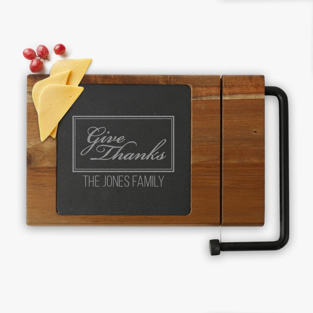 Give Thanks Custom Acacia Wood Cheese Board