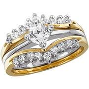 1.02 Carat T.G.W. Cubic Zirconia Two-Tone Wedding Ring Set