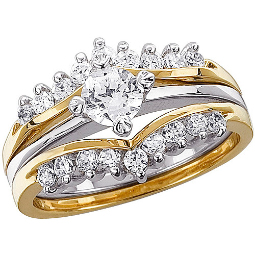 1.02 Carat T.G.W. CZ Two-Tone Wedding Ring Set