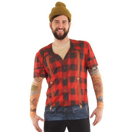 Mens Lumbersexual Tattoo Tee Shirt With Tattoo Mesh Long Sleeves