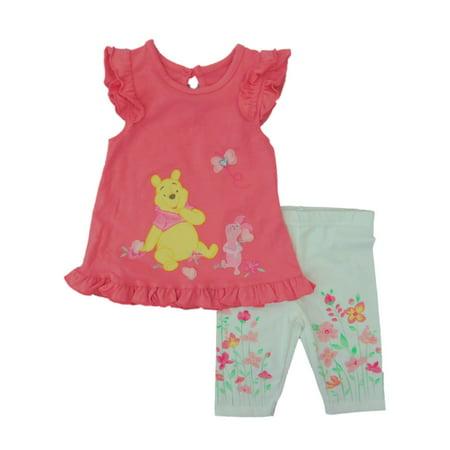 4a007b6e4ab6 Disney - Disney Infant Girls Orange Winnie the Pooh Bear Outfit Shirt &  Leggings Set - Walmart.com