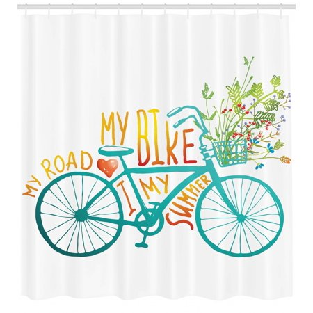 Bicycle Shower Curtain Vintage Summer Bike A Floral Bouquet Cute Vehicle For Transport Illustration Fabric Bathroom Set With Hooks Turquoise Yellow
