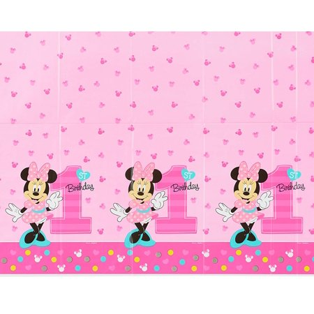 Minnie Mouse 1st Birthday Plastic Table Cover 54 X 96