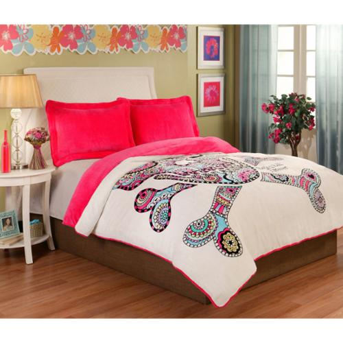 Punk Love Sugar Skull Velvet Plush 3-piece Comforter Set Twin