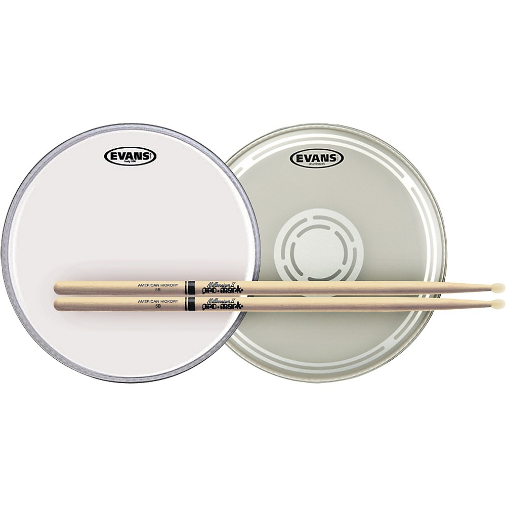 Evans EC Reverse Dot Snare Batter and Snare Side Head Pack with Free Pair of Pro-Mark Sticks Nylon 5B