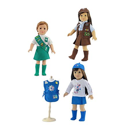 18-inch Doll Clothes | Value Pack - 3 Girl Scout Inspired Uniforms, Including Daisy, Brownie and Junior Scout Outfits | Fits American Girl Dolls